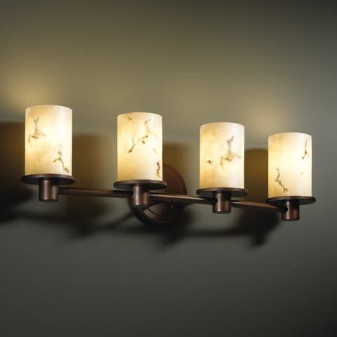 Justice Design Group LumenAria Rondo 4-light Dark Bronze Bath Bar, Faux Alabaster Cylinder - Flat Rim Shade