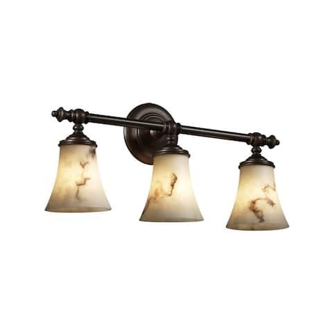 Justice Design Group LumenAria Tradition 3-light Dark Bronze Bath Bar, Faux Alabaster Round Flared Shade