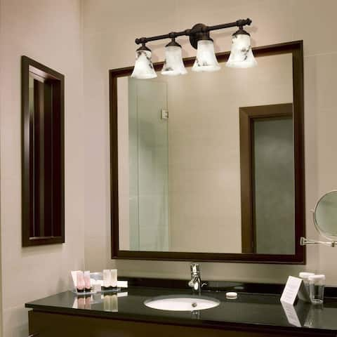 Justice Design Group LumenAria Tradition 4-light Dark Bronze Bath Bar, Faux Alabaster Round Flared Shade