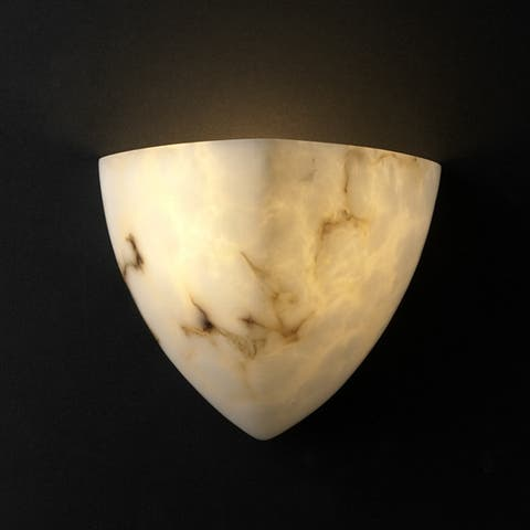 Porch & Den Hicrest Faux Alabaster Shade 1-light Wall Sconce