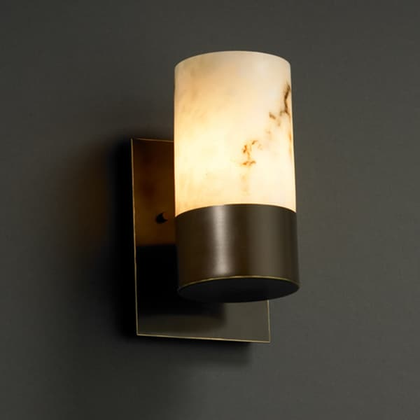 Justice Design Group LumenAria Dakota 1-uplight Dark Bronze Wall Sconce Faux Alabaster Cylinder & Shop Justice Design Group LumenAria Dakota 1-uplight Dark Bronze ...