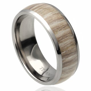 Vance Co. Men's Titanium Domed Ashen Zebra Rosewood Inlay Band (8 mm) (2 options available)