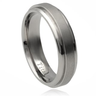 Vance Co. Men's Titanium Stepped Edge Brushed Center Band (6 mm)