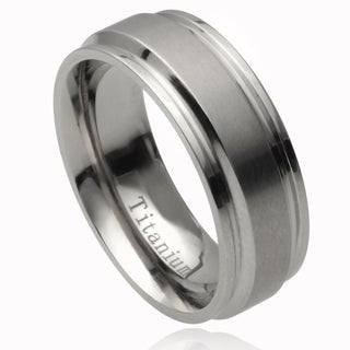 Vance Co. Men's Titanium Stepped Edge Brushed Center Band (8 mm)