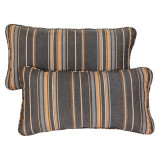 Grey/ Orange Stripe Corded 12 x 24 inch Indoor/ Outdoor Lumbar Pillows with Sunbrella Fabric (Set of 2)