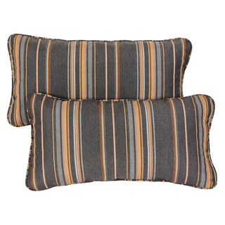 Grey/ Orange Stripe Corded 12 x 24 inch Indoor/ Outdoor Lumbar Pillows with Sunbrella Fabric (Set of