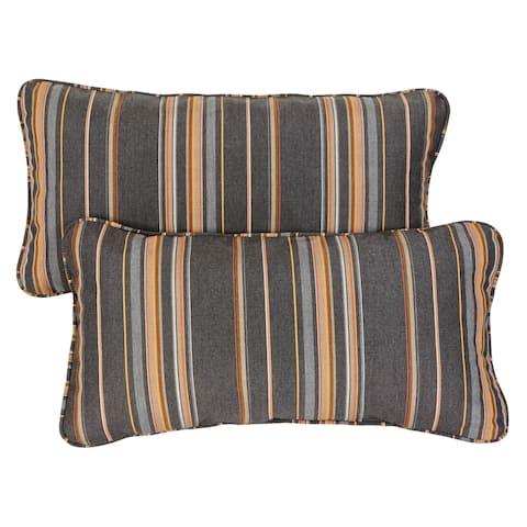 Grey/ Orange Stripe Corded 12 x 24 inch Indoor/ Outdoor Lumbar Pillows with Sunbrella Fabric (Set of