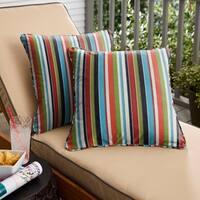 Sunbrella Multicolor Stripe Corded Indoor/ Outdoor Square Throw Pillows (Set of 2)