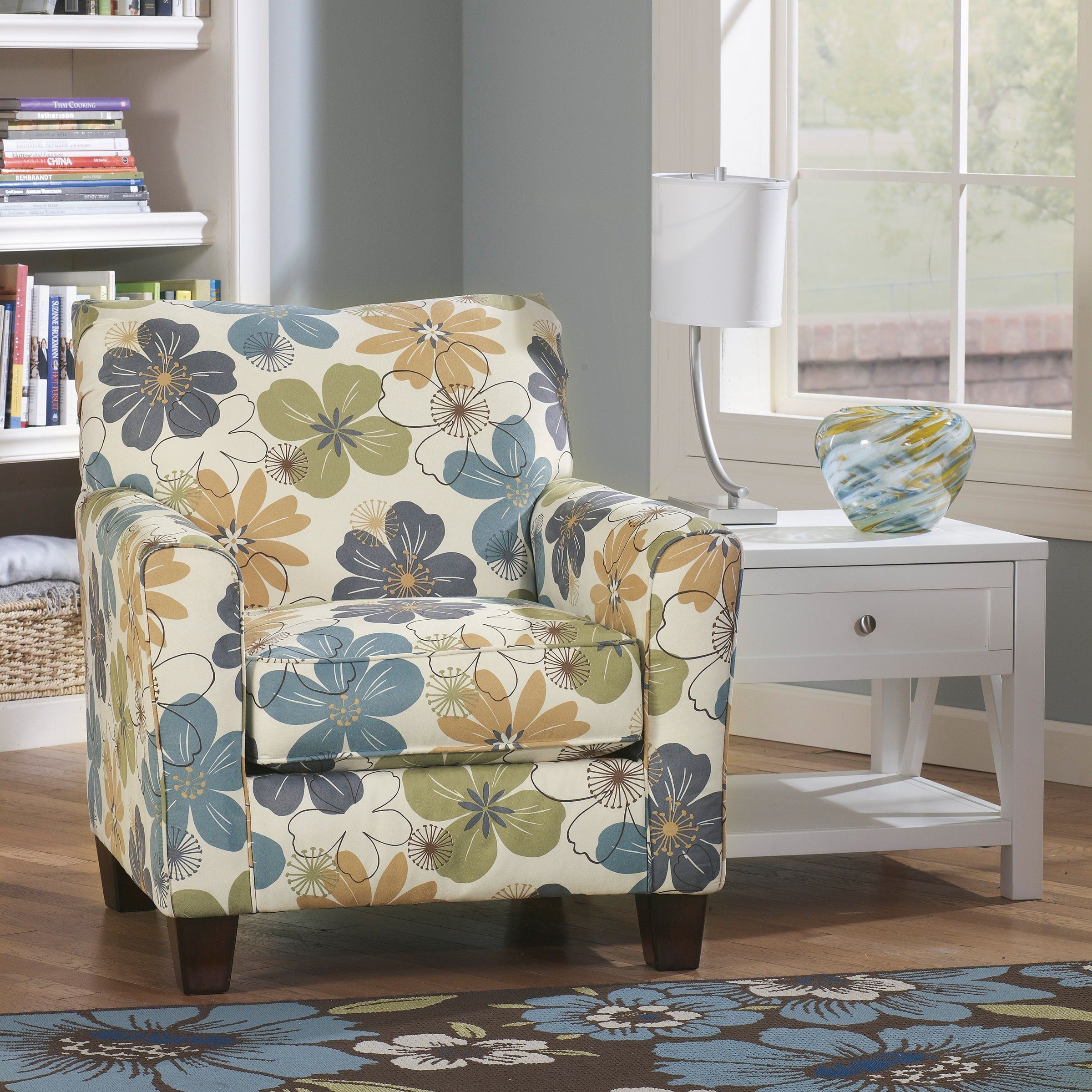 Picture of: Signature Design By Ashley Kylee Spa Blue Floral Print Accent Chair Overstock 8896120