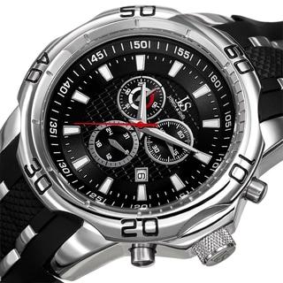 Joshua & Sons Bold Swiss Quartz Chronograph Date Silicone Strap Watch