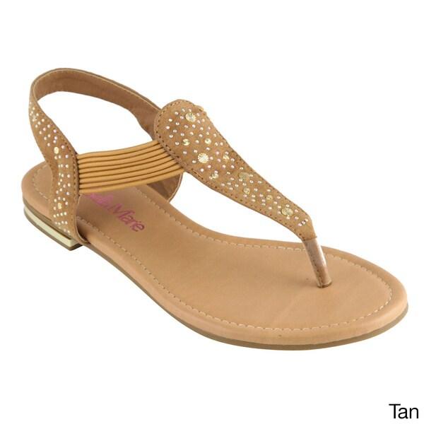 Shop Anna Women s  Marie-1  Rhinestone Stud T-strap Slingback Flat ... 1adf6273be93