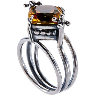 Handcrafted Sterling Silver Bali Faceted Citrine Ring (Indonesia)