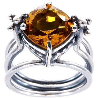 Handmade Sterling Silver Bali Faceted Citrine Ring (Indonesia)
