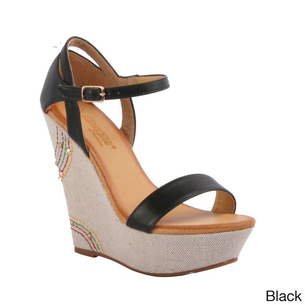 DBDK Women's 'Ena-2' Rhinestone-detailed Espadrille Wedge Sandals