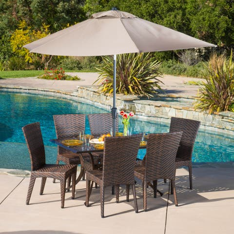 Brooke Rectangular Outdoor Cast and Wicker 7-piece Set by Christopher Knight Home
