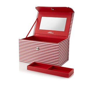 Morelle & Co Amanda Red Striped Cosmetic/Jewelry Case