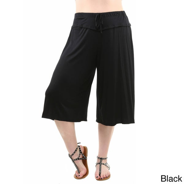 24/7 Comfort Apparel Women's Plus Size Knee-length Gaucho Pants ...