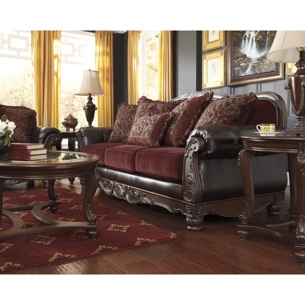 Signature Design By Ashley Weslynn Place Burgundy Sofa Free Shipping Today 8896187