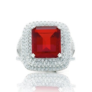Blue Box Jewels Rhodium-plated Silver Emerald-cut Red Cubic Zirconia Cocktail Ring (5 options available)