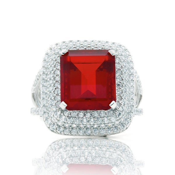 Blue Box Jewels Rhodium-plated Silver Emerald-cut Red Cubic Zirconia Cocktail Ring
