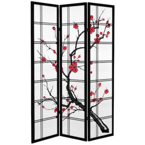 6-foot Tall Canvas Cherry Blossom Room Divider