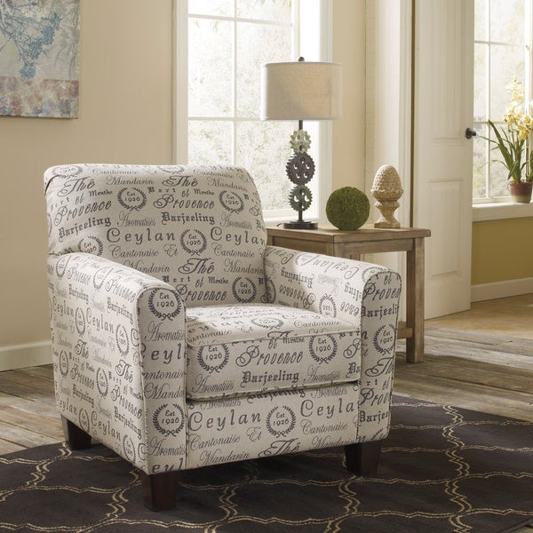 Signature Design By Ashley Alenya Quartz Tan Script Print Accent Chair