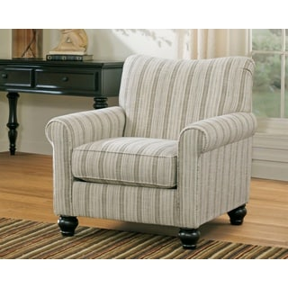 Signature Design by Ashley Milari Linen/ Maple Striped Accent Chair