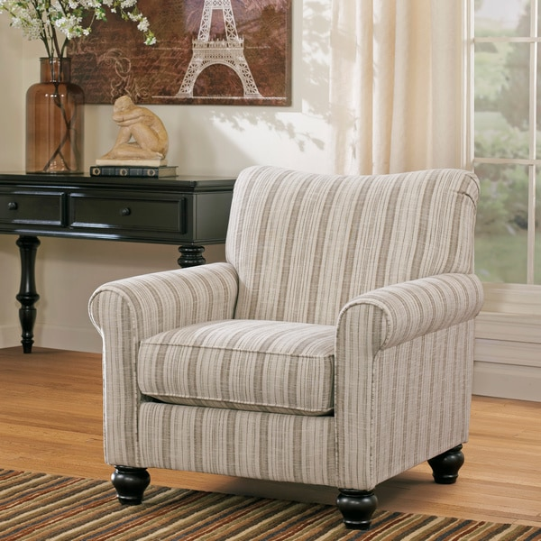 Signature Design By Ashley Milari Linen Maple Striped Accent Chair Free Shipping Today