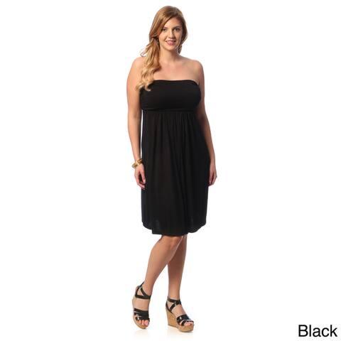 24/7 Comfort Apparel Women's Plus Size Sleeveless Tube Dress