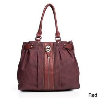 Fabric Zipper Trim Top-Handle Shoulder Bag