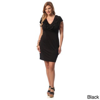 24/7 Comfort Apparel Women's Plus Size Ruffled Neck Casual Dress