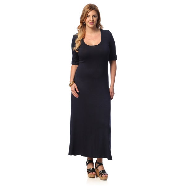 24/7 Comfort Apparel Women's Plus Size Half-sleeve Maxi Dress. Opens flyout.