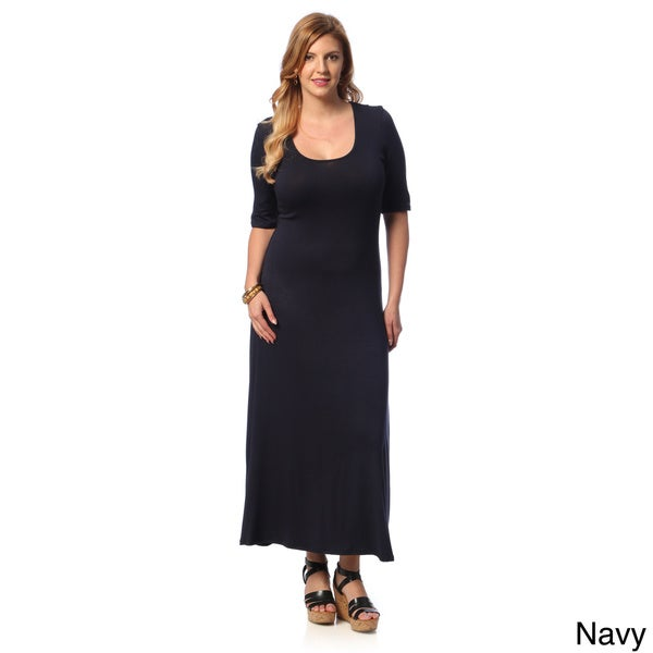 24/7 comfort apparel women's plus size half-sleeve maxi dress