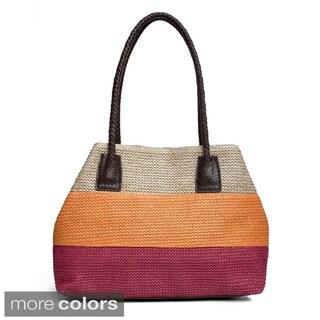 Bueno Colorblocked Straw Shoulder Bag