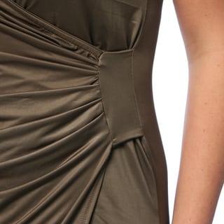 24/7 Comfort Apparel Women's Plus Size Faux Wrap Knee-length Dress
