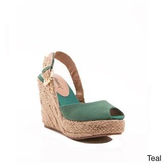 Gomax Women's Moki-08 Peep-toe Slingback Espadrille Wedge Sandals