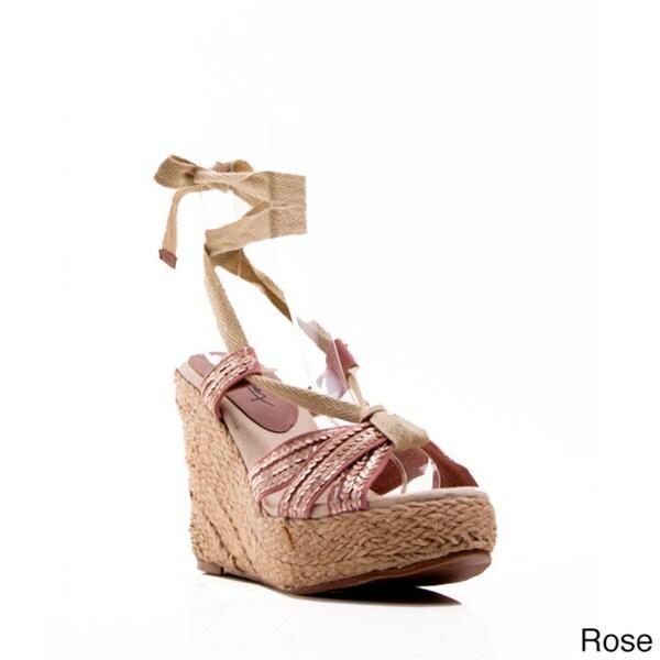 5f67d74901c Shop Gomax Women s Moki-03 Sequin Tie-up Espadrille Wedge Sandals ...