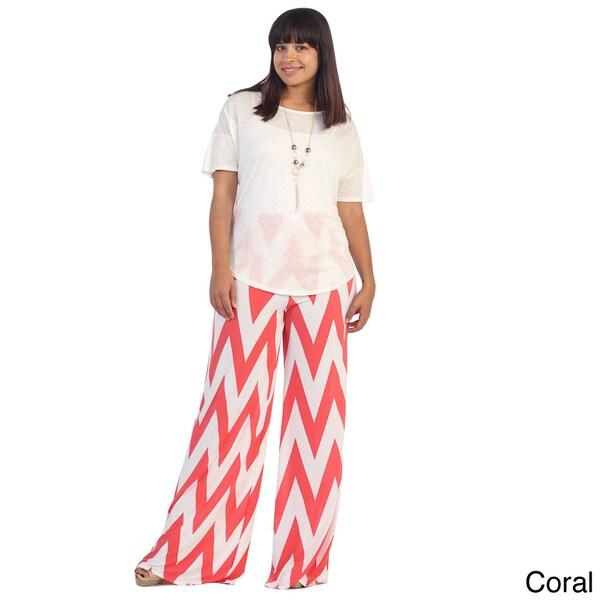 Hadari Women's Plus-Size Wide-leg Cheveron Print Plazzo P