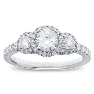 Azaro 14k White Gold 1ct TDW Diamond Halo Engagement Ring (G-H, SI2-I1)