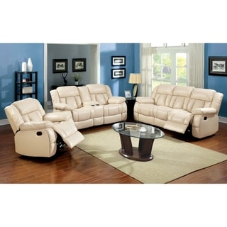 Furniture Of America Barbz 3 Piece Bonded Leather Recliner Sofa Set Ivory