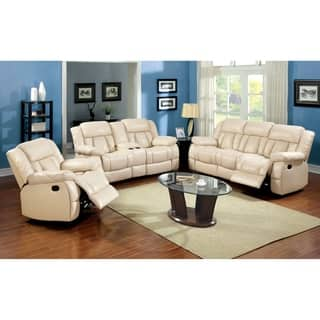 modern living room sofas. Furniture of America Barbz 3 piece Ivory Bonded Leather Recliner Sofa Set Modern Living Room Sets For Less  Overstock com