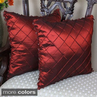 Blazing Needles 18-inch Beaded Satin Sheen Polyester Square Throw Pillows (Set of 2)