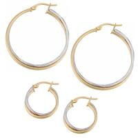 Fremada 14k Two-tone Gold Double Hoop Earrings