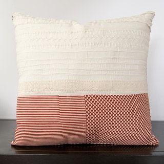 Basket Plaid Red Feather and Down or Poly Filled Throw Pillow