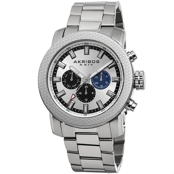 Akribos XXIV Men's Swiss Quartz Multifunction Stainless Steel Silver-Tone Bracelet Watch. Opens flyout.