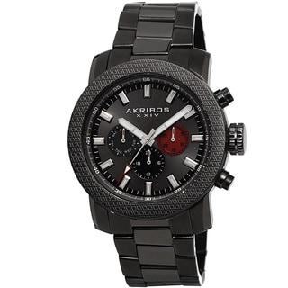 Akribos XXIV Men's Swiss Quartz Multifunction Stainless Steel Gun Bracelet Watch