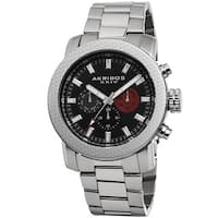Akribos XXIV Men's Swiss Quartz Multifunction Stainless Steel Silver-Tone Bracelet Watch