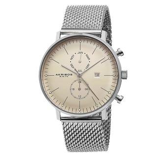 Link to Akribos XXIV Men's Swiss Quartz Stainless Steel Mesh Silver-Tone Strap Watch Similar Items in Men's Watches