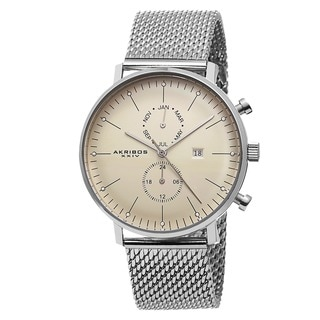 Akribos XXIV Men's Swiss Quartz Stainless Steel Mesh Silver-Tone Strap Watch