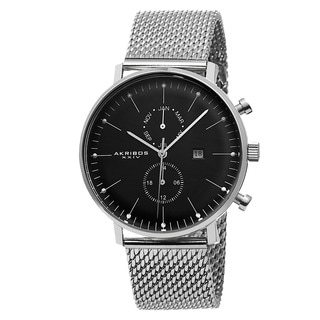Akribos XXIV Men's Swiss Quartz Dual-time Stainless Steel Mesh Silver-Tone Strap Watch